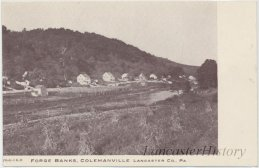Colemanville with several homes visible along the banks of the Pequea Creek taken after 1907.