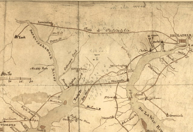 Philadelphia and Lancaster Turnpike map circa 1796.