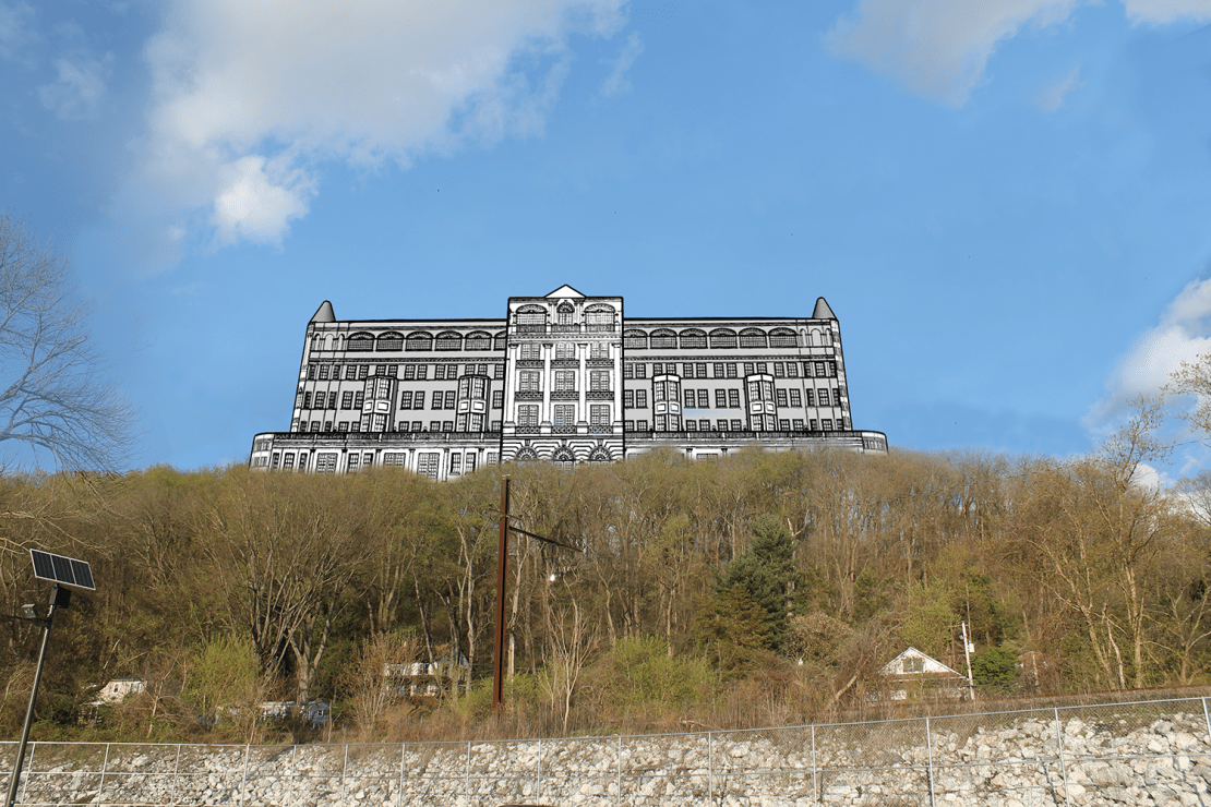 3D rendering of the Pequehanna Inn as it would appear today on Hartman Hill viewed from the marina in Pequea.