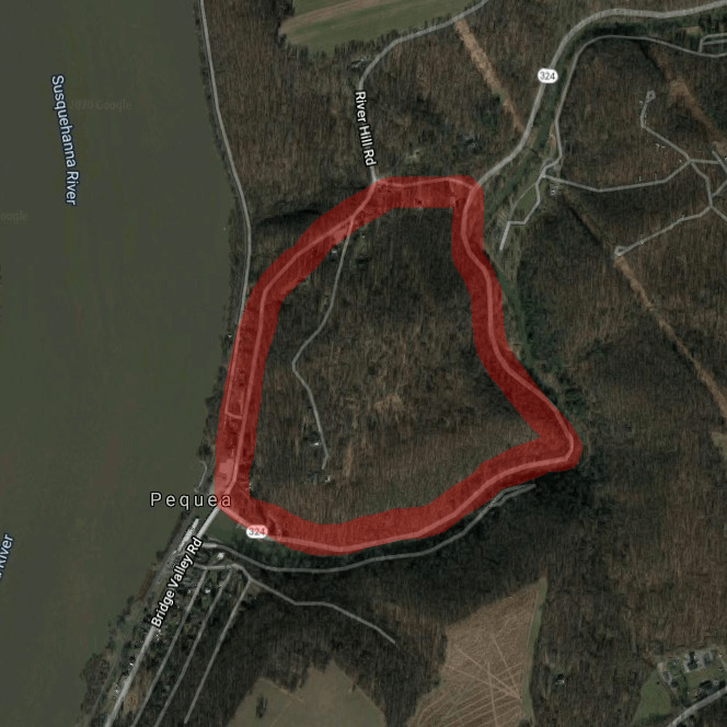 This map shows the approximate boundary line for the Pequehanna's 100-acre property. The town of Pequea is directly south.