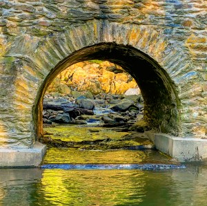 Looking through the Conestoga Boulevard tunnel towards the waterfalls.