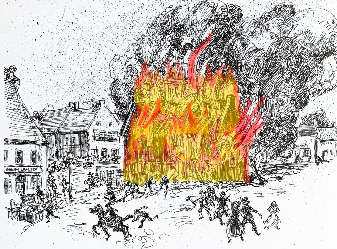 The Lancaster courthouse in flames in early June of 1784.