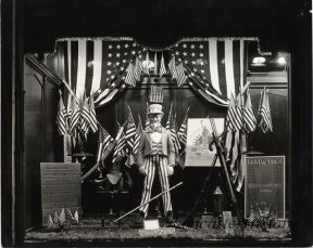 Watt and Shand window display for the Pageant of Liberty - July 5, 6, and 7, 1926. Window shows Uncle Sam and relics used by Peter Maurer during the Revolutionary War. circa 1928