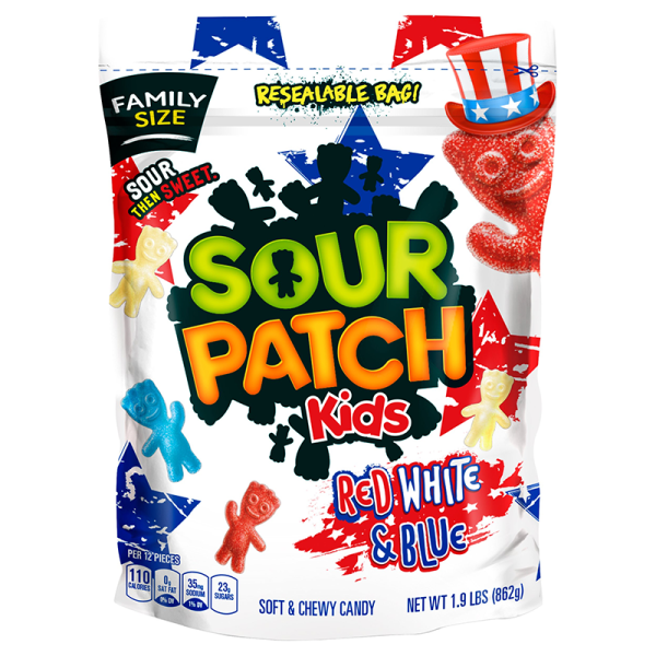 Bag of Sour Patch Kids Red White & Blue