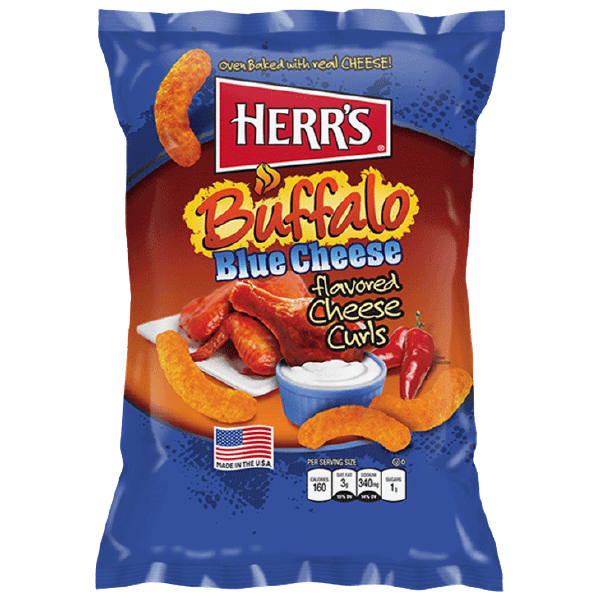 Bag of Herr's Buffalo Blue Cheese Curls
