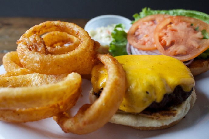 unclegeorgesbarandgrill grilled cheeseburger and onion rings