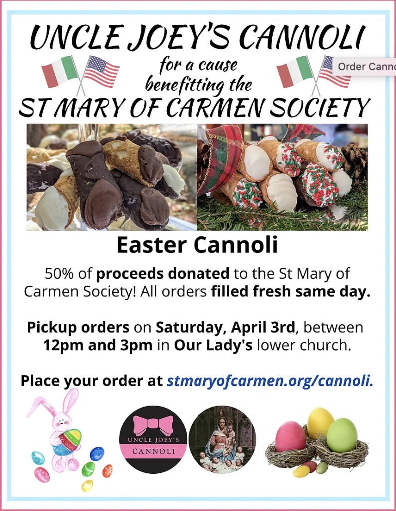 St Mary of Carmen Society Easter Cannoli Fundraiser