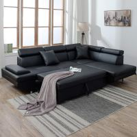 NEW MODERN CONTEMPORARY LEATHER SECTIONAL CORNER SOFA BED ...