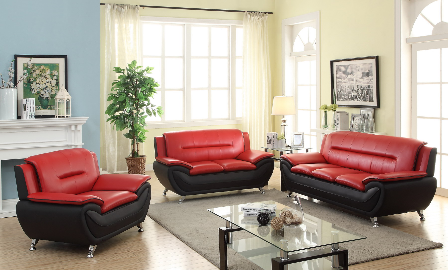 rosso red leather 3 piece sofa set corinthian new pcs contemporary bonded living room