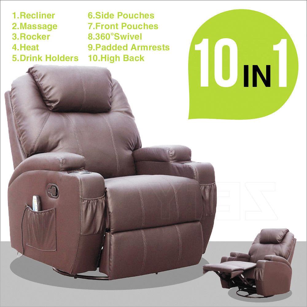 10 in 1 Massage Recliner Swivel Chair  Power Lift