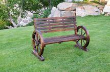 Patio Garden Wooden Wagon Wheel Bench Wgb61 - Uncle