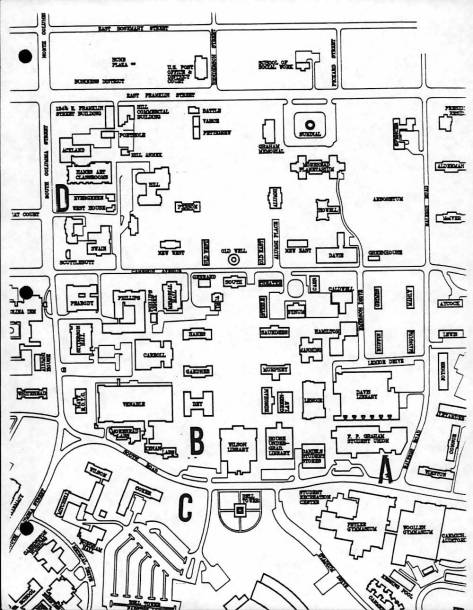 Map of Potential Sites for the Sonja Stone Black Cultural Center in the Sonja Haynes Stone Center for Black Culture and History Records #40341, University Archives, Wilson Library, The University of North Carolina at Chapel Hill.