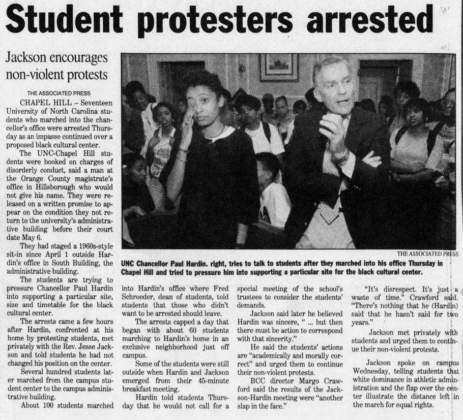 """Associated Press, """"Student Protestors Arrested,"""" The Asheville Citizen Times,16 April 1993, Page 2B."""