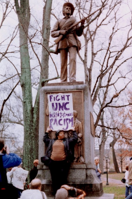 Elaine Massey at the 1997 Martin Luther King Jr. Day Rally in John Kenyon Chapman Papers #5441, Southern Historical Collection, Wilson Library, The University of North Carolina at Chapel Hill.