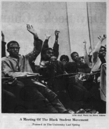 Meeting of the Black Student Movement, Photo by Steve Adams in The Daily Tar Heel, 17 September 1968, Page 13.