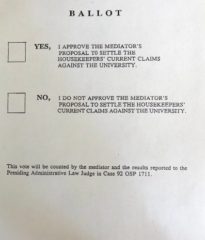 Ballot measure for voting on the settlement, November 1996in theAlan McSurely Papers, #4928, Southern Historical Collection, Wilson Library, The University of North Carolina at Chapel Hill.