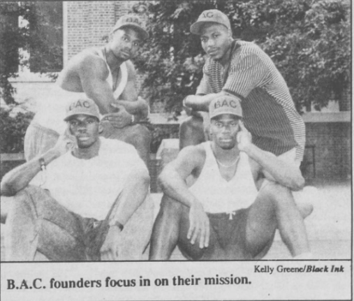 Members of the Black Awareness Council, (clockwise) John Bradley, Jimmy Hitchcock, Malcolm Marshall, and Tim Smith. Photo by Kelly Greene inBlack Ink, 31 August 1992, Page 5.