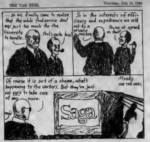 Political Cartoon Regarding SAGA, The Daily Tar Heel, 10 July 1969, Page 4.