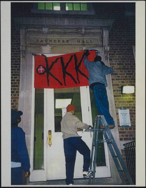 Students Seeking Historical Truth, Decoration of Saunders Hall, October 1999 in the John Kenyon Chapman Papers #5441 Southern Historical Collection, Wilson Library, The University of North Carolina at Chapel Hill.