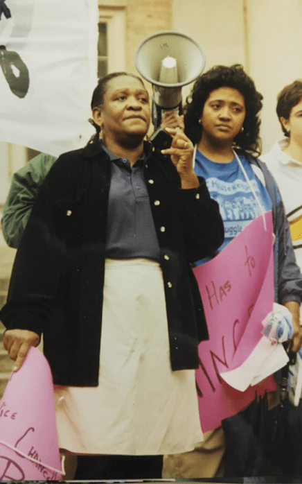 Marsha Tinnen and Barbara Prear leading protest, 1997 in the John Kenyon Chapman Papers #5441, Southern Historical Collection, Wilson Library, The University of North Carolina at Chapel Hill.