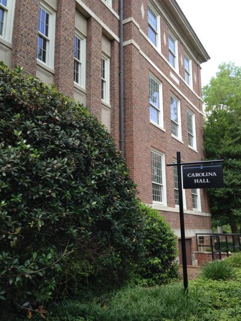 Carolina Hall Sign. Personal Photograph. Charlotte Fryar. 1 June 2015.
