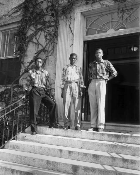 Leroy Frasier, John Lewis Brandon, and Ralph Frasier (left to right), on the steps of South Building, 1955, in the University of North Carolina at Chapel Hill Image Collection Collection #P0004, North Carolina Collection Photographic Archives, Wilson Library, The University of North Carolina at Chapel Hill.