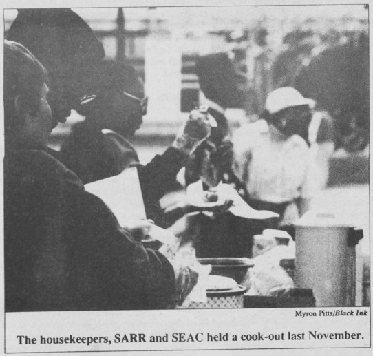 Housekeepers and SEAC hold fundraiser in the Pit, Photo by Myron Pitts in Black Ink, 21 January 1992, Page 6.