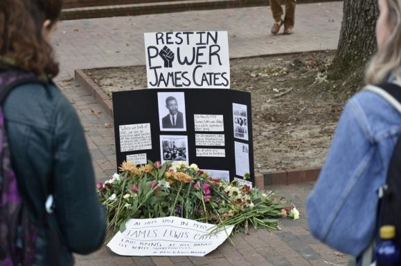 Memorial to James Lewis Cates, Photo by Janet Ayala in The Daily Tar Heel, 25 October 2018.