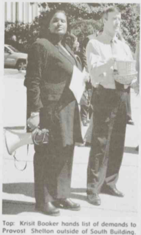 Kristi Booker and Provost Robert Shelton, pictured in Black Ink, 1 May 2001, Page 9.