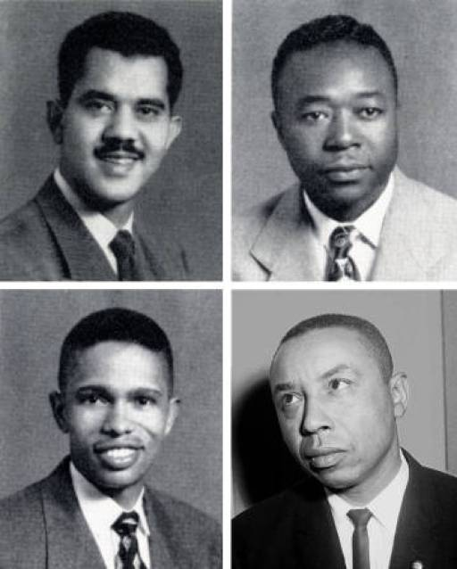 Harvey Beech, James Lassiter, Floyd McKissick, and Kenneth Lee (clockwise) in the North Carolina Collection, Wilson Library, The University of North Carolina at Chapel Hill and Bancroft Library, University of California at Berkeley (McKissick photograph).