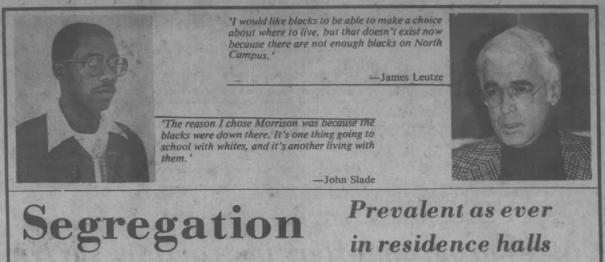 "Jessiman, Thomas, ""Segregation, prevalent as ever in residence halls,"" The Daily Tar Heel, 6 November 1980, Page 8."