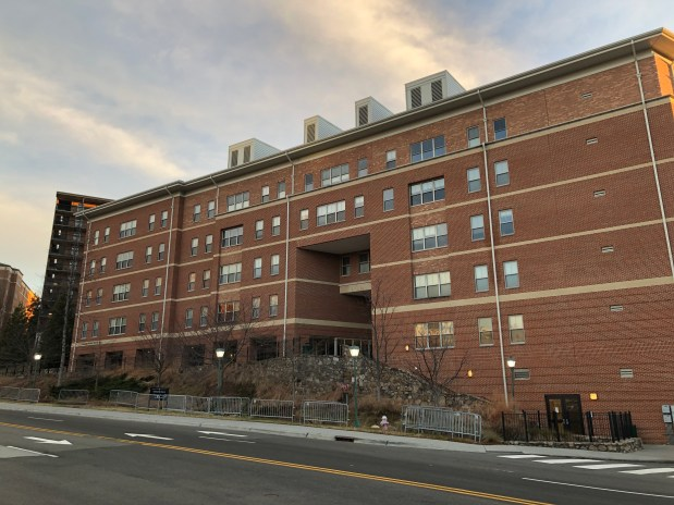 Ram Village Apartments in Nelson Ferebee Taylor Hall. Personal Photograph. Charlotte Fryar. 17 December 2018.