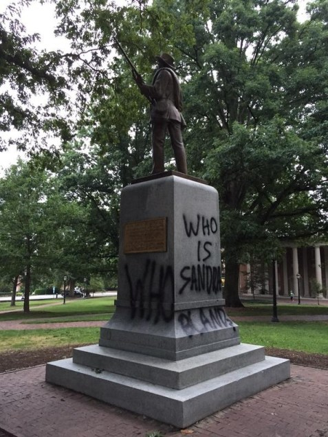 """Who Is Sandra Bland?,"" Tagging of the Confederate Monument, Photo by Katie Williams in The Daily Tar Heel, 18 August 2015."