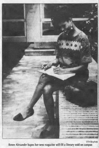 Renee Alexander Craft, Creator of Sauti M'pya, Photo in The Daily Tar Heel, 24 August 1992, Page 3.