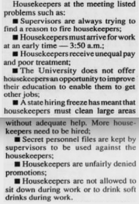 Issues filed in the Step One Grievance, The Daily Tar Heel, 26 February 1991, Page 1.