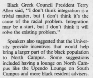 "Branen, Amy, ""Dorm racial situations considered,"" The Daily Tar Heel, 13 October 1983, Page 4."