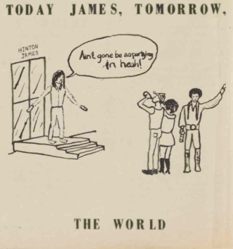 """Ain't Gone Be No Partying In Heah!,"" Cartoon of white student preventing Black student parties in Hinton James, Black Ink, 20 October 1971, Page 6."