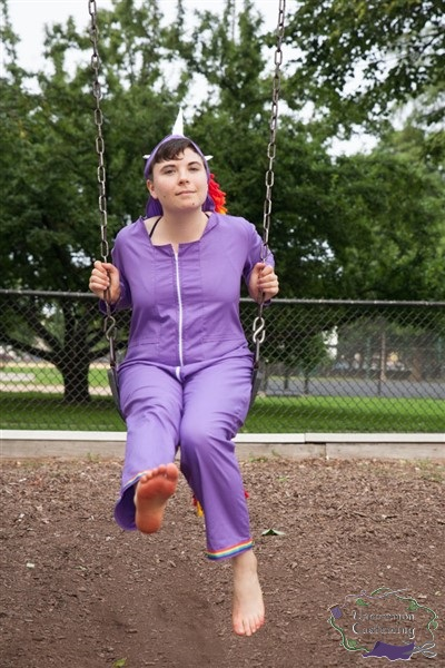 Rainbow Unicorn Jumpsuit, swinging
