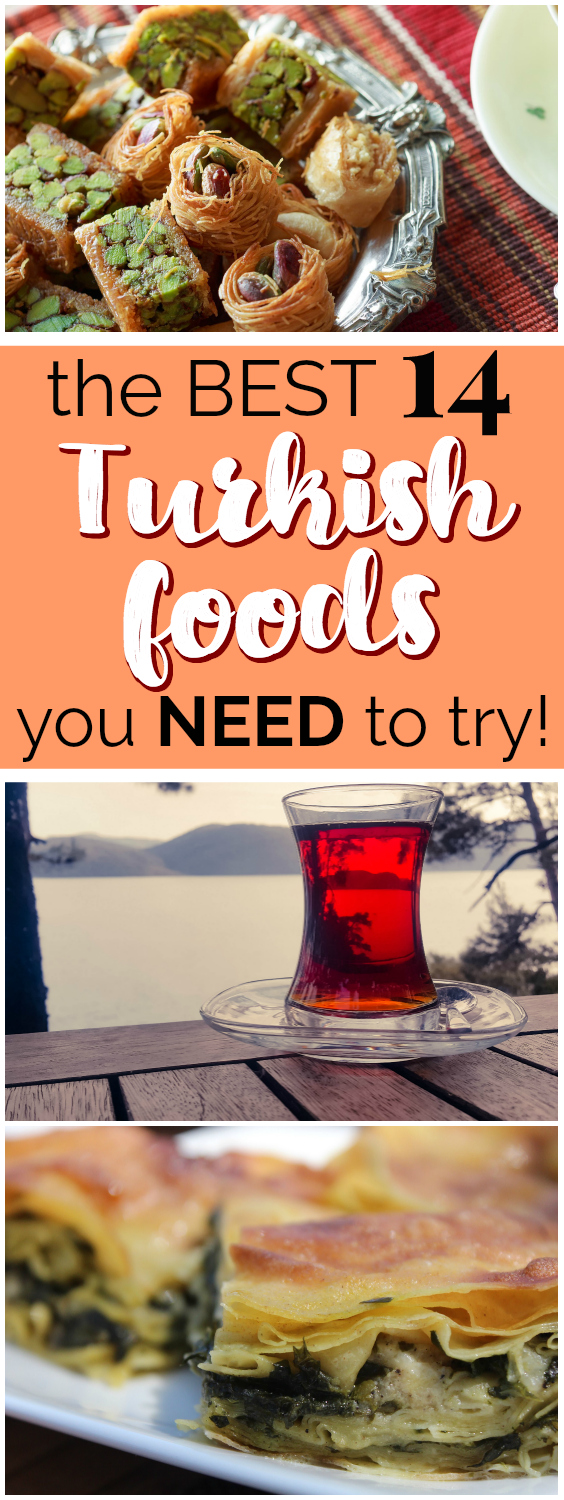 The Best 14 Turkish Foods You Need to Try | This list of the best Turkish foods to try looks AMAZING! I've never tried Turkish food before but now I can't wait to go try these! This list comes from someone who lived in Turkey so she shares what she loves about each dish. I can't wait to either try these Turkish foods at a Turkish restaurant, or try these Turkish foods when I visit Turkey! Definitely pinning for later! #turkish #foodie #turkishfood #internationalfood