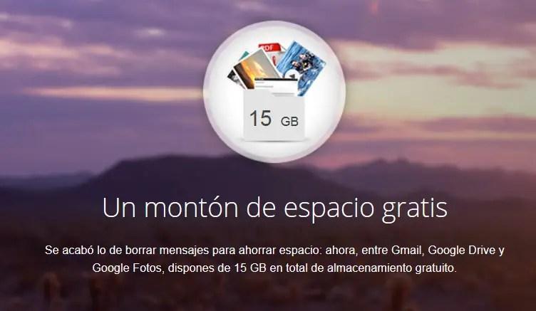 almacenamiento en Gmail