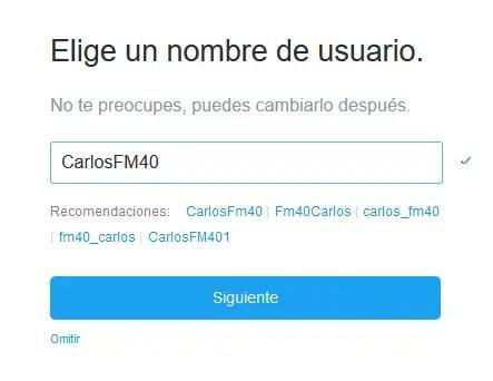 Twitter Nombre de usuario