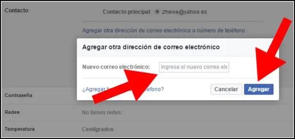 Agregar dirección de correo electrónico en Facebook