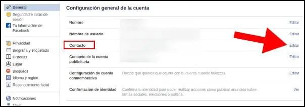 Configuración general de Facebook