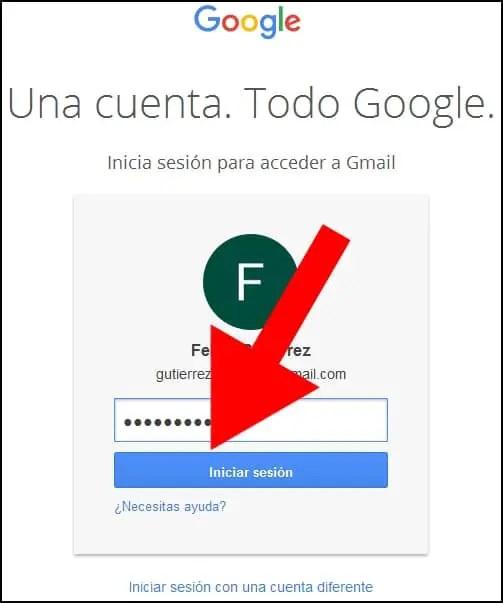 recordar cuenta con contraseña de Gmail