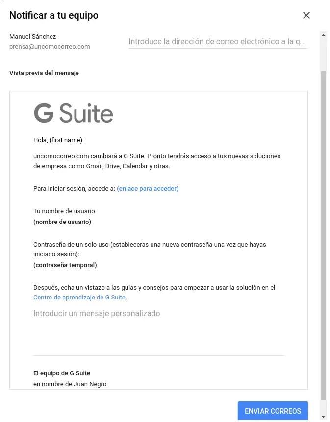 avisar a miembros de g suite