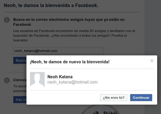 bienvenida de Facebook