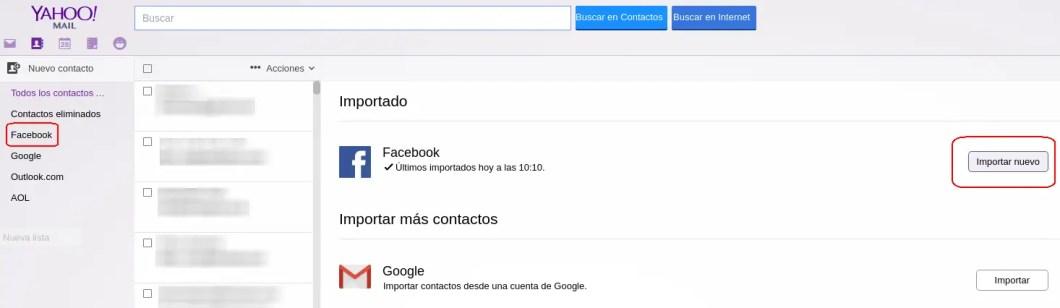 contactos importados de Facebook