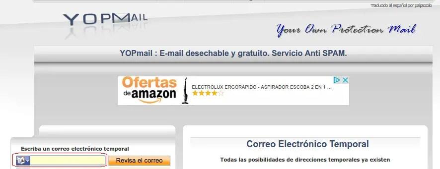 correo electrónico temporal de YOPmail