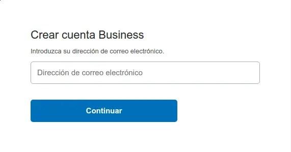 crear cuenta business