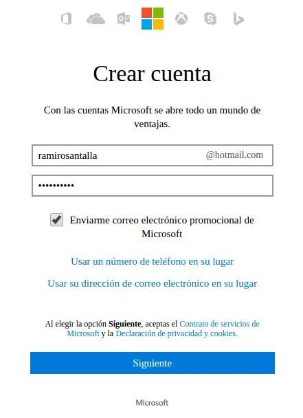 crear cuenta de Microsoft OneDrive
